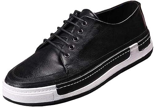 ECSD Casual Oxford-Schuhe Für Jugendmode, Business Casual Walk Oxford, Niedriger Turnschuhe Mit Schnürung (Farbe   Schwarz Größe   EU43 UK9 CN44)