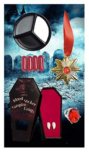 shoperama Diverse Vampir Zubehör-Sets Blutkapseln Zähne Ring Halsschmuck Kontaktlinsen Schminke Kunstblut Eckzähne Kette Make-up, Variante:Deluxe