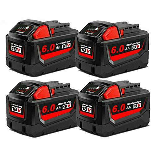 4Pack 18V 6.0Ah Battery for Milwaukee 18 Volt Lithium XC Battery 48-11-1820 48-11-1840 48-11-1850 48-11-1860 48-11-1828 48-11-1815