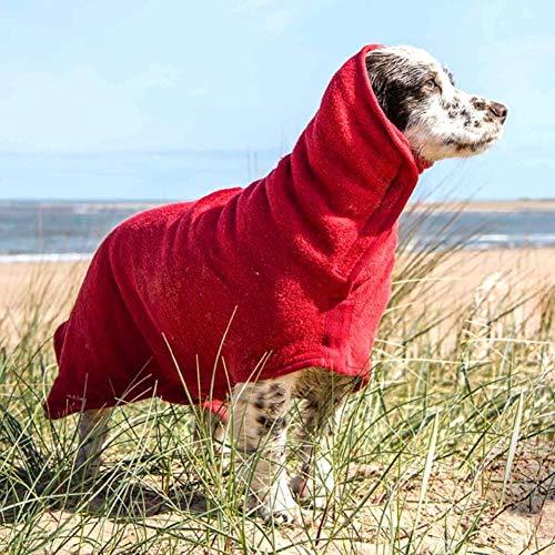 Albornoz Perro Toalla para Perros, Absorbente Microfibra Seque la Mascota Rápidamente con Cuello y Cintura Ajustables