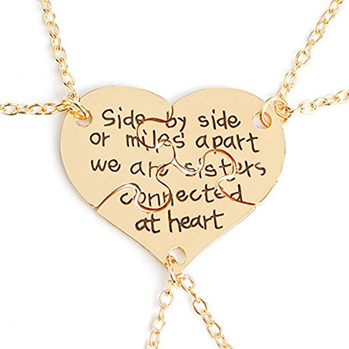 3 Pcs Best Friends Forever Engraved Necklace Broken Heart Charm Pendant Set BFF Friendship Necklace (Gold -   We are sisters connected at heart  )