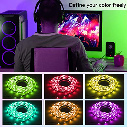 50ft Bluetooth LED Strip Lights, Music Sync 5050 LED Light Strip RGB Color Changing LED Lights Strip with Phone Remote, LED Lights for Bedroom Kitchen TV Party TIKTOK DIY (APP+Remote +Mic) 4