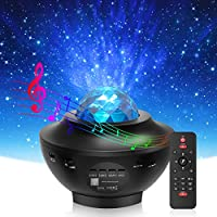 【Star Projector + LED Ocean Wave Projector】 The Newest Star projector instantly projects a field of drifting stars against a transforming blue nebula cloud with 10 color rotational dynamic projections. The soothing aurora effect creates a relaxing en...