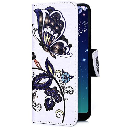 Uposao Kompatibel mit Handyhülle iPhone XS Max Handytasche Retro Muster Leder Flip Case Cover Tasche Ledertasche Lederhülle Bookstyle Klapphülle mit Kartenfach Magnetverschluss,Blau Blumen