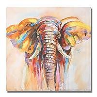 現代抽象キャンバス絵画動物の壁アートポスタープリント水彩象の写真リビングルームの家の装飾壁画-70x70cmフレームなし