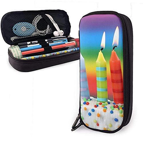 Geburtstag farbige Kerze PU Leder Tasche Aufbewahrungsbeutel Student Bleistift Büro Schreibwaren Tasche Reißverschluss Geldbörsen Make-up Tasche