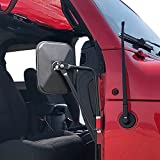 Door Off Mirrors, Side View Mirrors for Jeep Wrangler JK JL TJ YJ CJ & Unlimited Easy-Install Exterior Door Hinge Mirrors Black, 2 Pack