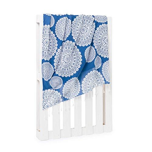 Montse Interiors - Sarong & Beach Towel 2 in 1 - Reversible Materiaal Met verschillende kanten - Patroon Mandala - 'Sea' Design - Blue
