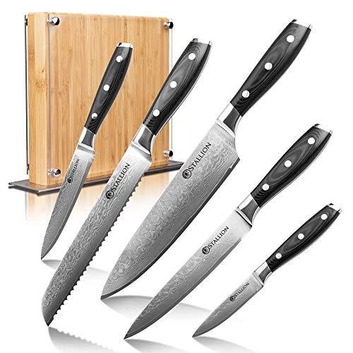 Stallion Damastmesser Wave Messerset - Messer aus Damaststahl mit Messerblock