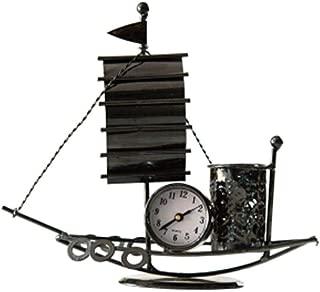 DKX Creative Home Sailing Pen Holder, Decoration, Living Room Desk Wrought Iron Clock Decoration, Iron Sailing Pen Holder (Color : Natural)