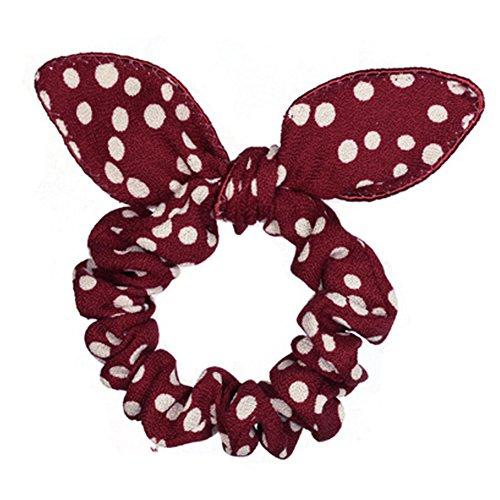 Oreilles de lapin mignon Élastique Cravates accessoires cheveux, Rouge