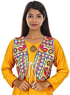Trendish Women's Cotton Kutchi Designer Mirror Work Jacket/Koti (White_Medium)