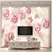カスタム壁画 3D壁紙 ピンクのジュエリーの花 リビングルームテレビソファの家の装飾 -200x140cm/79x55inch