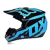Casco De Motocross Casco De Motocross para Niños Casco De Motocross para Adultos con Gafas/Guantes/Máscara Casco De Motocicleta Fox Youth,Azul,M