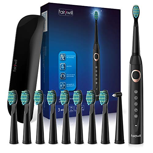 Sonic Electric Toothbrush Powerful Whitening Cleaning - 10 DuPont Brush Heads Travel Case Included, 5 Modes USB Rechargeable, Bulid in Smart Timer 40,000 VPM Motor Dentists Recommend Black by Fairywil