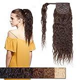 40cm - Extensiones Coleta Postizo de Cabello Pelo Natural Humano 80g Corn Wave Remy Human Hair Extension Ponytail Clip - #2 Marrón Oscuro