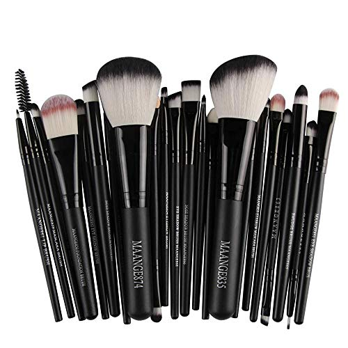 Pinceaux Maquillages Professionnels Kit de 8pcs, Poils Synthétiques Vegan, Soyeux et Denses,(Poudres, Crèmes, Liquides) Costume 22 pièces, noir