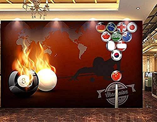 Flame Billard Pool Zimmer Werkzeuge Hintergrund Wand dekorative Malerei Tapete Grau Wandaufkleber Grenze selbstkleb Wanddekoration fototapete 3d Tapete effekt Vlies wandbild Schlafzimmer-300cm×210cm