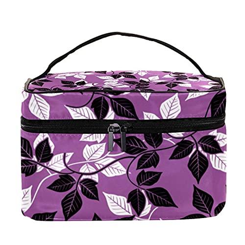 Neceser bolsa de maquillaje cepillos de llevar bolsa de lavado de gimnasio, bolsa organizadora de cosméticos, viaje, hojas abstractas