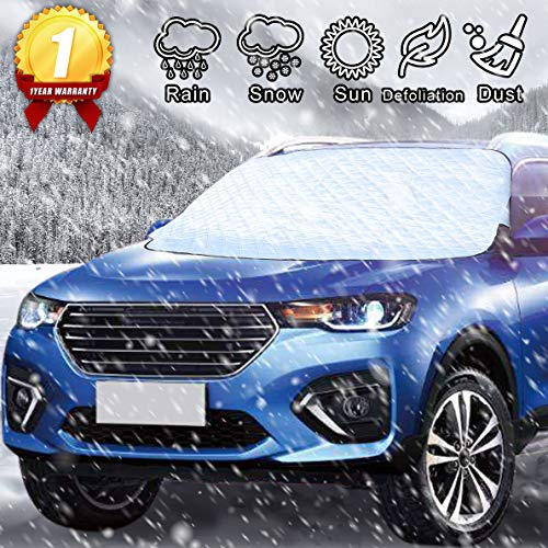 Car Windshield Snow Cover with 4 Layers Protection Universal Waterproof Winter Car Window Covers Extra Large Thick Folding UV Ray Reflector Fits Most Vehicles (Silver)
