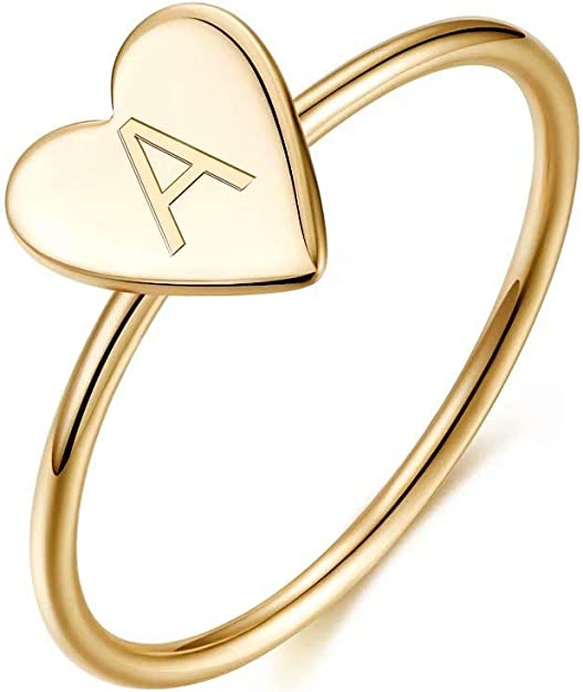 Memorjew 925 Sterling Silver Rings for Girls Women, Dainty Initial Heart Ring Stacking Ring for Women Girls Jewelry Gifts