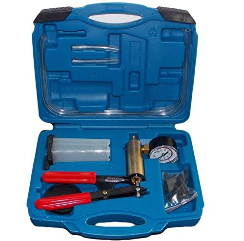 KFZTEILESCHNELLVERSAND24 Vakuumpumpe Bremsenentlüfter Bremsenentlüftungsgerät Vakuum Vakuumtester Set Anzeige bis 760 mm Hg mit Koffer