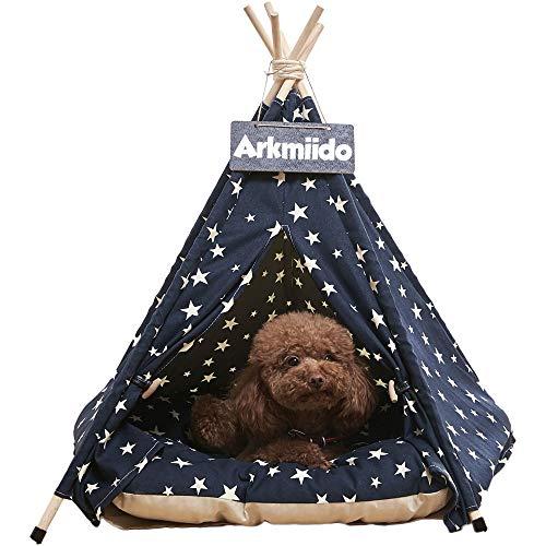 Arkmiido Haustierzelt für Hunde Welpe Katze mit Bett, Canvas-Hundehütte, Pet Tipi mit Kissen 60CM, Drinnen draußen (Marine)