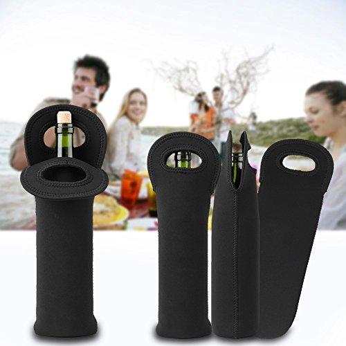 3pcs con aislamiento de neopreno vino botella de champán tote portador cerveza latas de agua botella de vino enfriador bebidas bolsa de transporte funda protectora soporte de manga negro