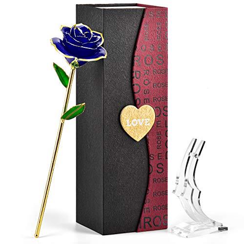 Forgifing - Rosa eterna regalo para mujer, ideal como regalo para Navidad, San Valentín, Copina, regalo para el día de la madre, regalo de cumpleaños y boda – Rosa chapada en oro de 24 K (azul)
