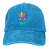 AOHOT Classic Hombre Mujer Gorras de béisbol,Cool Zebra Sunglasses Denim Hat Adjustable Men's Classic Baseball Hat