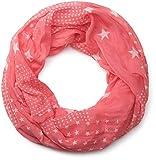 styleBREAKER fular de tubo con motivo de estrellas, ligero y sedoso, unisex 01016088, color:Coral blanco