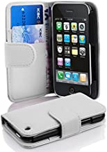 Cadorabo Case Works with Apple iPhone 3 / iPhone 3GS in Snow White (Design Book Structure) – with 2 Card Slots – Wallet Case Etui Cover Pouch Flip