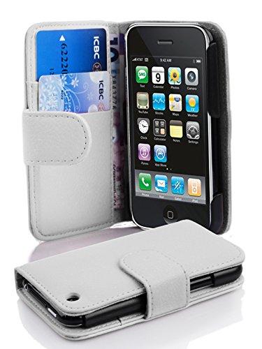Cadorabo Hülle für Apple iPhone 3 / iPhone 3GS - Hülle in Magnesium WEIß – Handyhülle mit Kartenfach aus struktriertem Kunstleder - Case Cover Schutzhülle Etui Tasche Book Klapp Style