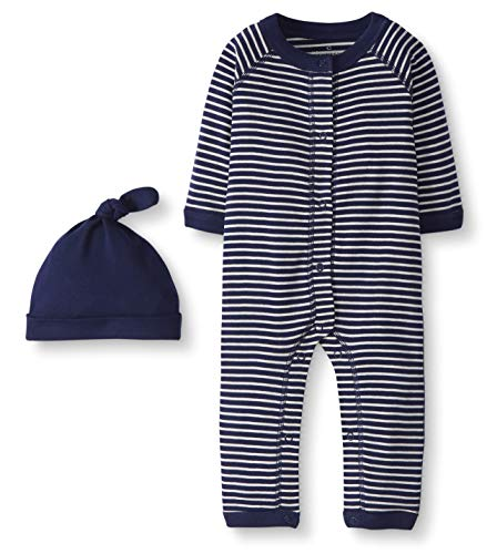 Moon and Back by Hanna Andersson Snap Front One Piece Coverall with Cap Set Infant-and-Toddler-Layette-Sets, Marino, 3-6 Meses