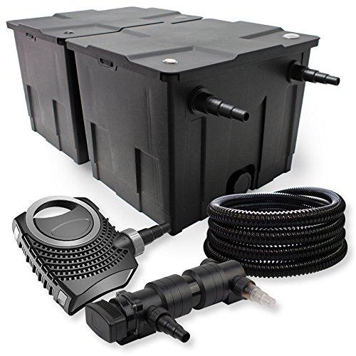 SunSun 2-Kammer Filter Set 60000l 18W UVC 6er Teich Klärer NEO7000 50W Pumpe Schlauch