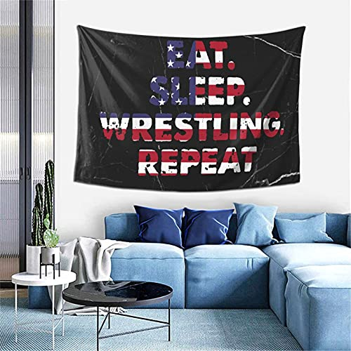 AOOEDM Eat Sleep Wrestle Repeat Wrestling Tapices Tapiz decorativo Tapiz de dormitorio familiar 60-40 pulgadas