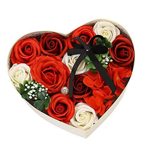 Meilily Rosen-Duftseifen in Geschenk-Box, Konservierte Rosenduft Steigung-Farben-Badeseife Rose in Geschenkbox Hochzeit/Geburtstags/Valentinstag Handgefertigt Rose Seife Blume