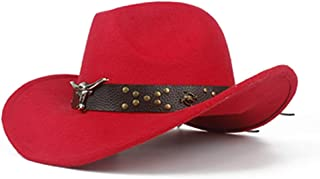 JIALANG Unisex Western Cowboy Hat with Cow Head Leather Band Sombrero Hat Wide Brim Church Jazz Hat Size 56-58CM (Color : Red, Size : 56-58)