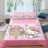 H-ello Ki-tty Bettwäsche Set 3D Cartoon H-ello Ki-tty Bettbezug Set Tagesdecke für Jungen Mädchen Teenager 1 Bettbezug mit 2 Kissenbezügen Doppelbettgröße