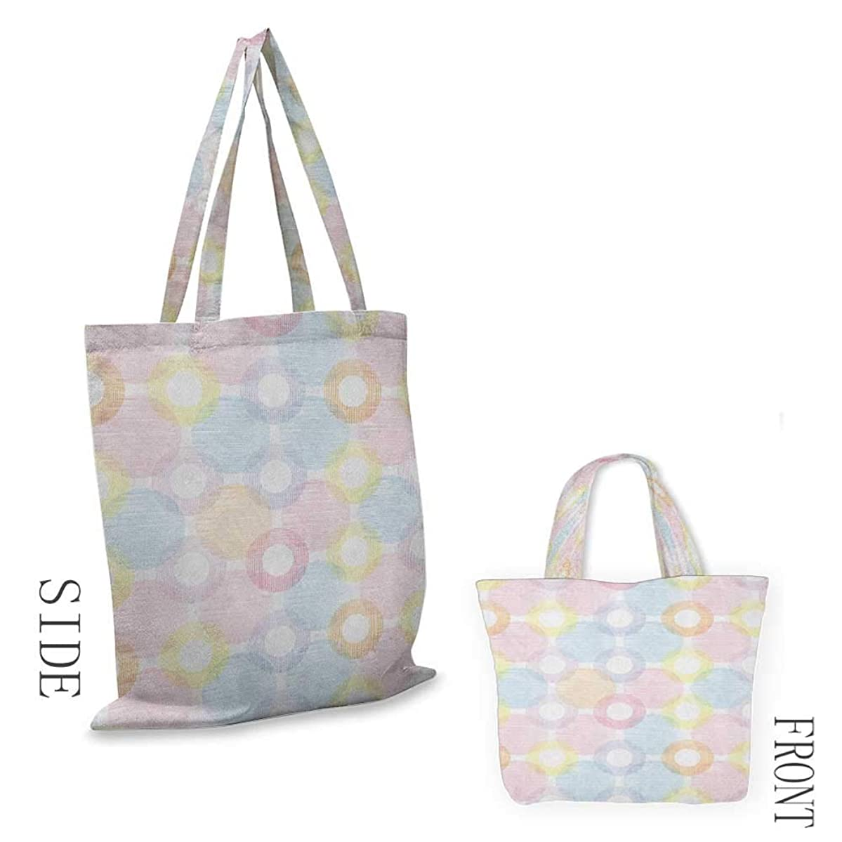 """Beach bag PastelRing Shapes and Big Spots Dots Symmetrical Overlapping Figures Geometric Feminine Multicolor18""""W x 16""""H"""