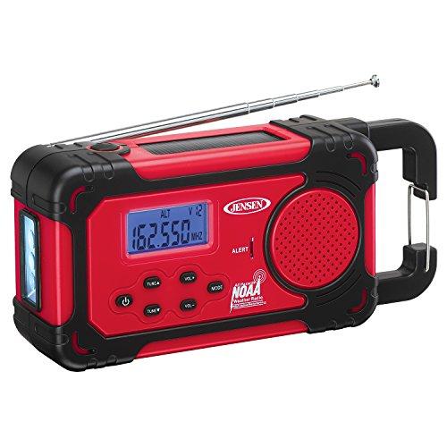 Jensen Compact Emergency Weather-Resistant Hand Crank AM/FM Radio with Built-in Speaker
