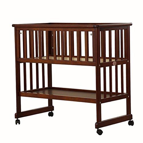 0~6 Ans bébé lit, Double Usage bébé Table à Langer en Bois de pin Amovible Station de Finition, avec Frein Hauteur réglable Charge 60 kg (Couleur : Brown)