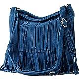 modamoda de - ital bandolera con flecos de gamuza T125, Color:Jean azul