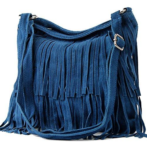 Ital. Borsa a tracolla in pelle Frans borsa tracolla donna borsa in pelle scamosciata T125, Colore:Jean blu