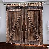 Cortina Opaca,Puerta Retro Vintage con Ojales, Estilo Simple Y Elegante, para Salón, Habitación Y Dormitorio, 2 Piezas, L 160 X W 140 Cm,