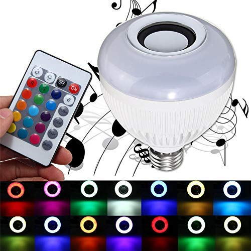 LILICEN Smart Light Bulb, 12W E27 Wireless Bluetooth Music RGBW LED Audio Speaker Bulb with 24 Keys IR Remote Control Living Room
