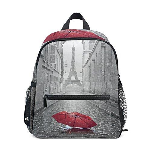 LIANCHENYI Paris Eiffelturm mit rotem Regenschirm in Straße, Unisex Outdoor Daypacks Taschen 2., 3., 4. Klasse Schulrucksack für Kinder Jungen Mädchen