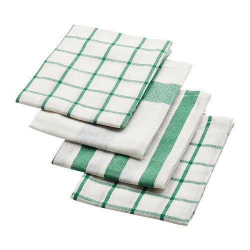 IKEA ELLY - Paños de cocina (4 unidades, 50 x 65 cm), color blanco y verde