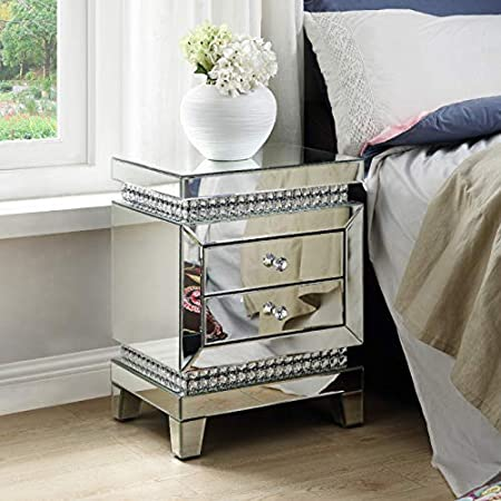 Mirrored Nightstand, Crystal End Table with 2-Drawers, Mirror Accent Silver Table, Bedroom Mini Cabinet from Mireo Furniture