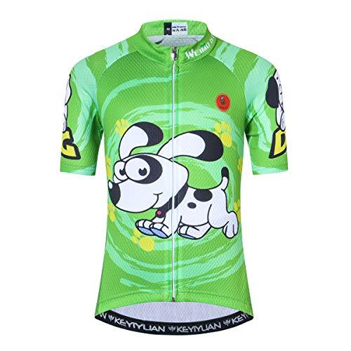 Cycling Jersey Kids Short Sleeve Children Cartoon Road Mountain Bike Shirt Top Girls Boys Breathable Green Doggie Size L